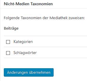"""Plugin """"Enhanced Media Library"""" Zuordnung von Kategorien und Schlagwörtern der Beiträge zur Mediathek"""