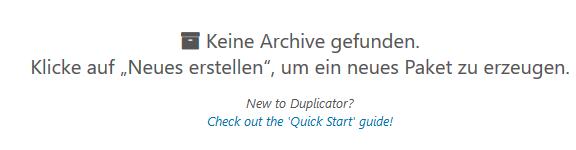 Duplicator Keine Archive gefunden