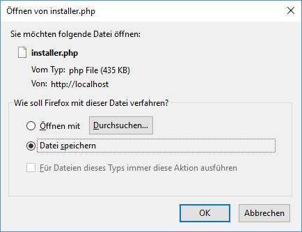 Plugin Duplicator Installer-Datei speichern- - Schritt 4 beim Umzug von WordPress