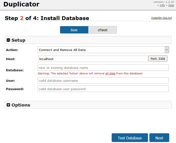Plugin Duplicator Anmeldung bei der Datenbank im Webspace - Schritt 7