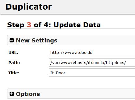 Plugin Duplicator Update Data - Schritt 9 bei dem Umzug von WordPress