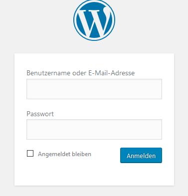 Anmeldemaske von WordPress