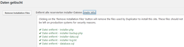 Plugin Duplicator Ergebnis von Remove Installation Files