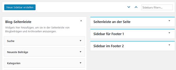 """Plugin """"Content Aware Sidebars"""" Die eigene Sidebar bei den Widgets"""
