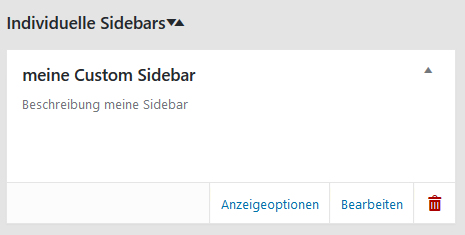 "Plugin ""Custom Sidebars – Dynamic Widget Area Manager"" meine Custom Sidebar"