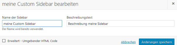 "Plugin ""Custom Sidebars – Dynamic Widget Area Manager"" Custom Sidebar bearbeiten"