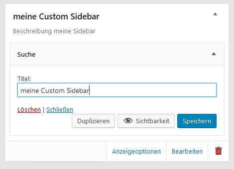 "Plugin ""Custom Sidebars..."" Suchhilfe in neine Custom Sidebar reinziehen"