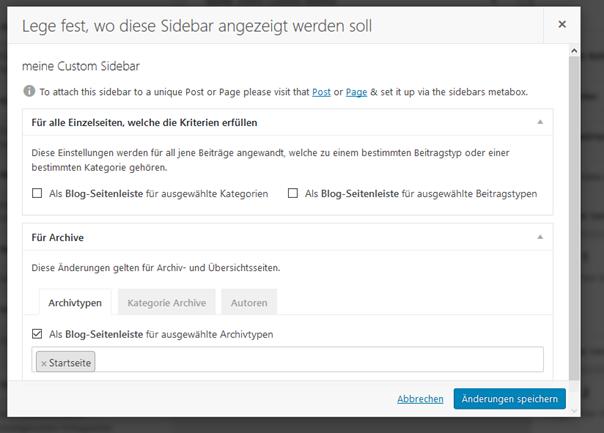 """Plugin """"Custom Sidebars..."""" Einstellungen für den Ort """"Startseite"""""""