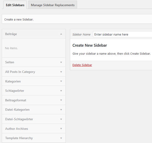 "Plugin ""Easy Custom Sidebars"" Neue Sidebar anlegen"