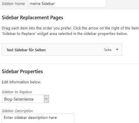 """Plugin """"Easy Custom Sidebars"""" Eigenschaften der neuen Sidebar"""