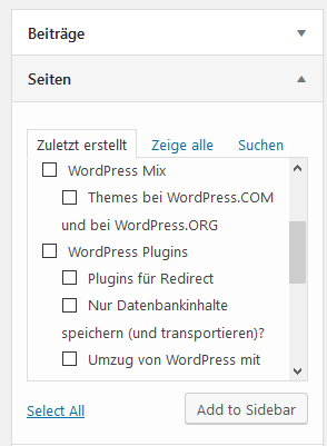 "Plugin ""Easy Custom Sidebars"" Seiten ohne Startseite"
