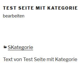 """Plugin """"Category to Pages WUD"""" Kategorie erscheint auf der Seite"""