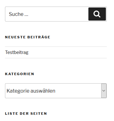 die Blog-Seitenleiste ohne das Widget von Categories to Pages WUD