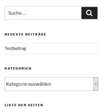 die Blog-Seitenleiste ohne das Widget von Categories to Pages WUD