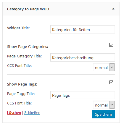 "Einstellungen des Widgets vom Plugins ""Category to Pages WUD"""