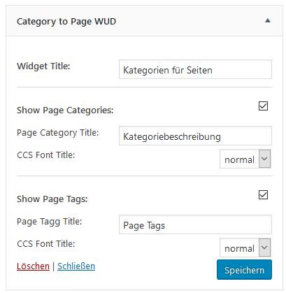 """Einstellungen des Widgets vom Plugins """"Category to Pages WUD"""""""