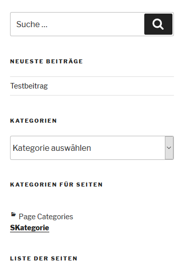 "Plugin ""Category to Pages WUD"" Blog-Seitenleiste mit SKategorie"
