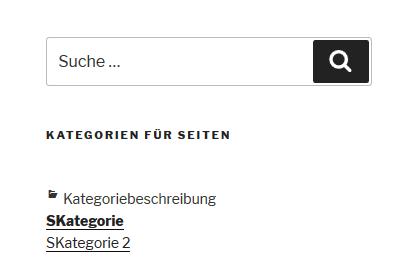 """Plugin """"Category to Pages WUD"""" Blogseitenleiste mit 2 Seitenkategorien"""