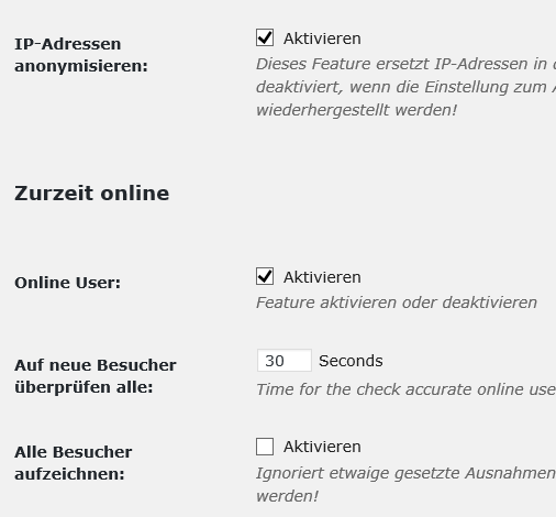 "Plugin "" WP Statistics"" Einstellungen I Plugin "" - nicht Google Analytics"