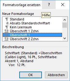 Word Formatvorlage Überschrift 1 ersetzen