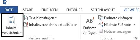 Word Schaltfläche für Inhaltsverzeichnis erstellen im Menüband