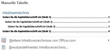 Word Inhaltsverzeichnis Manuelle Tabelle