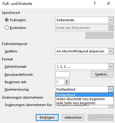 Word Art und Weise der Nummerierung der Fußnoten