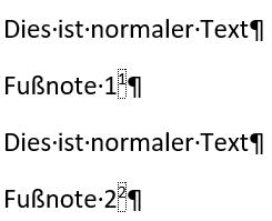 Word 2 Fußnoten mit je einer Quelle im Text