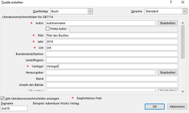 Word Quelle für Literaturverzeichnis erstellen