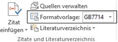 """Word Vorauswahl der Formatvorlage """"GB7714"""" für Zitate"""