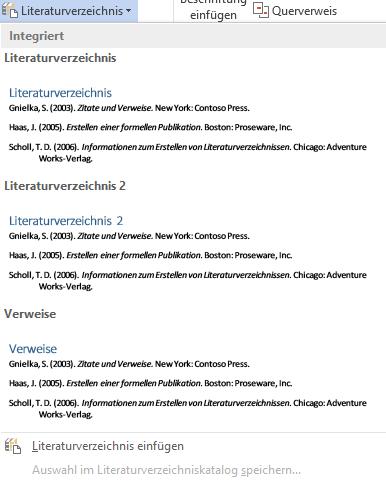 Word bietet verschiedene Muster für Literaturverzeichnisse an