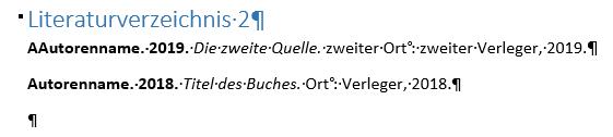 Word Literaturverzeichnis mit 2 Quellen