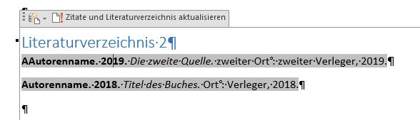 Word Zitate und Literaturverzeichnis aktualisieren