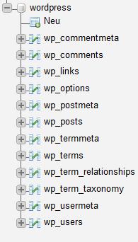 WordPress Datenbank sichern - Die Datenbank