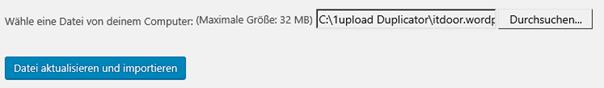 WordPress Zu importierende Datei ausgesucht