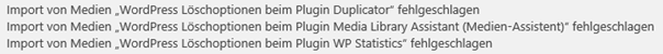 WordPress Import von Bildern fehlgeschlagen