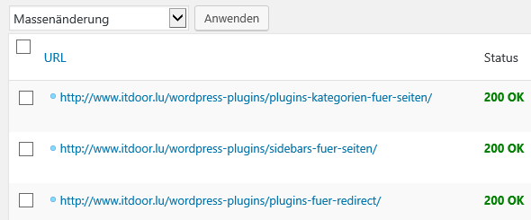 Teilsicht der Liste der Links beim WordPress Plugin Broken Link Checker