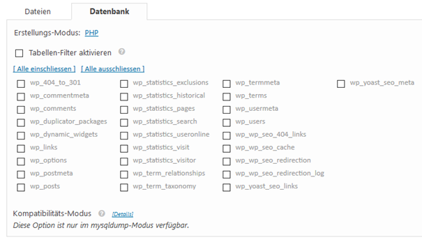 WordPress Plugin Duplicator einzelne Tabellen der Datenbank sichern
