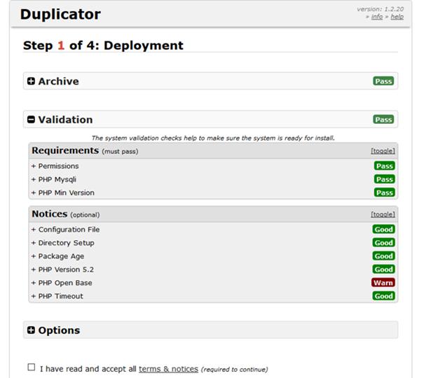 Plugin Duplicator Umzug von WordPress Validierungsmaske