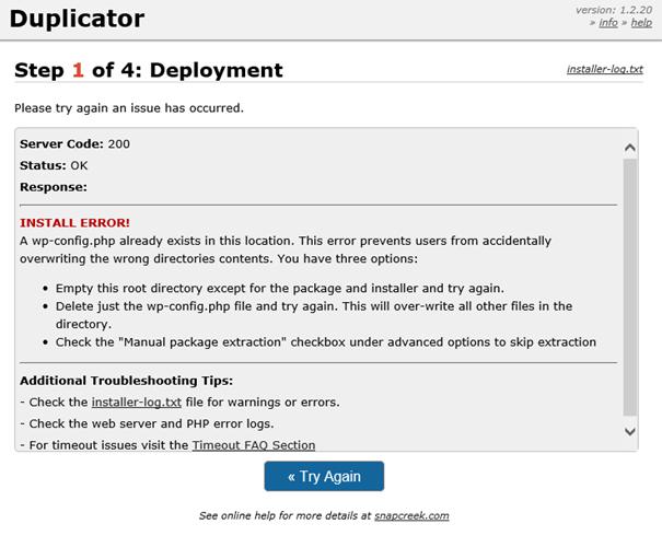"""Plugin Duplicator Vollsicherung WordPress Empfehlung Datei"""" wp-config.php"""" zu löschen"""