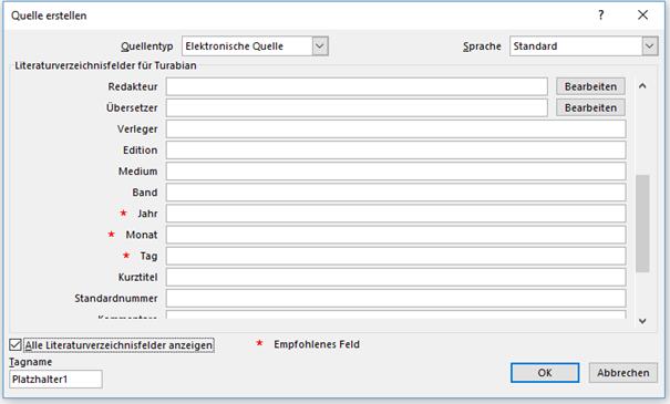 """Word Felder vom Quellentyp """"Elektronische Quelle"""" für Zitate II"""
