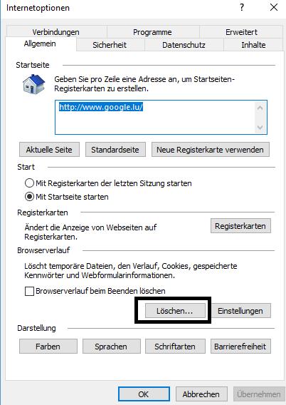 Internet Explorer Klick um auf die Löschmaske zu kommen