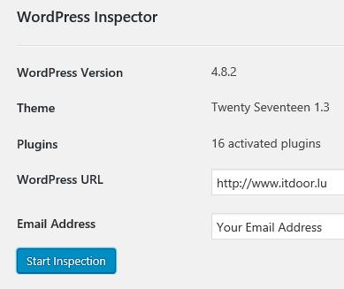 WordPress Plugin WordPress Inspector verlangt Angabe der E-Mail Adresse