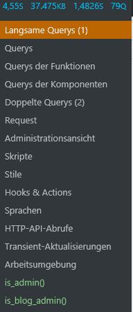 WordPress Plugin Query Monitor Menü