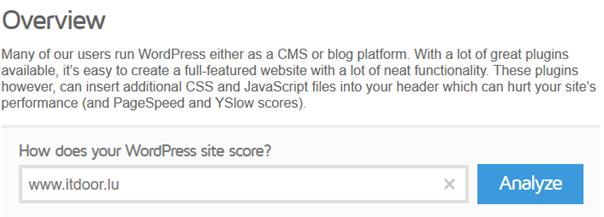 Die spezielle Eingangsmaske von GTmetrix für WordPress Sites für Performance messen