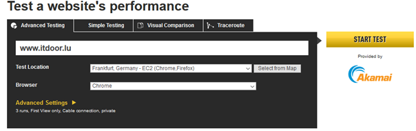 Eingangsmaske von Webpagetest für Performance messen