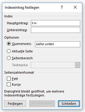"""Word Abkürzungsverzeichnis Indexeintrag festlegen mit Button """"Schließen"""""""