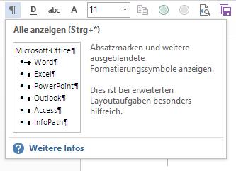 Word Ausgeblendete Formatierungssymbole wieder anzeigen
