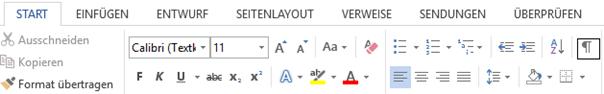 Registerkarte Start Befehl für Formatierungssymbole und Absatzmarken