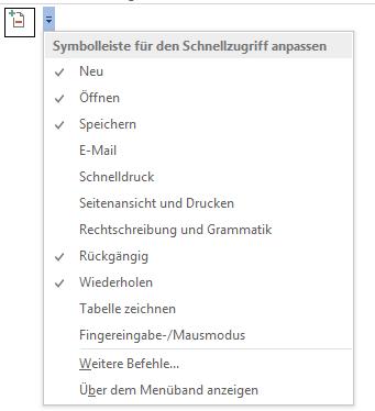"""Word Schnellzugriff Symbolleiste Befehl """"Eintrag festlegen"""""""